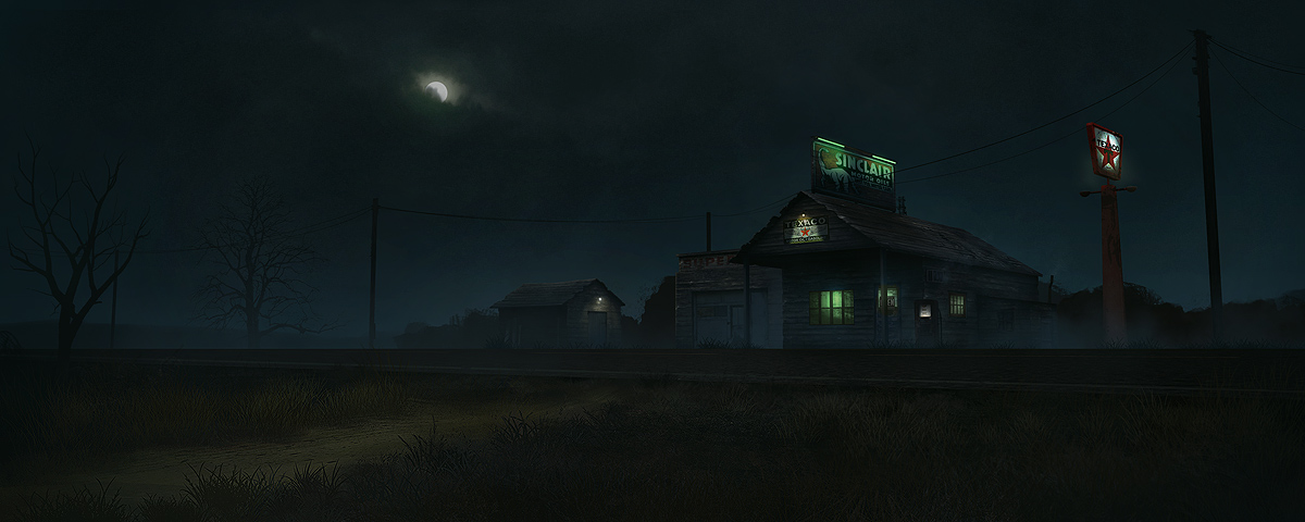 old gas station - fog night
