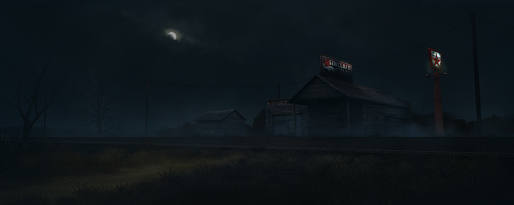 digital painting - gas station