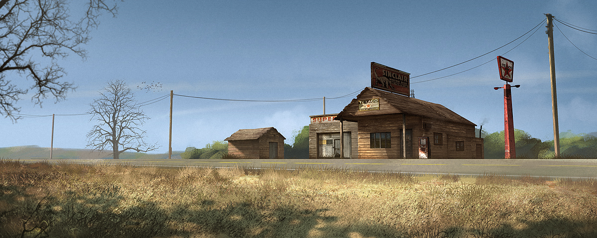 old gas station - day