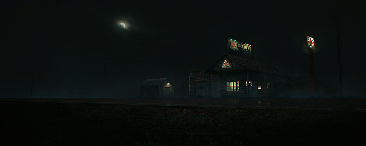 old gas station - dark night