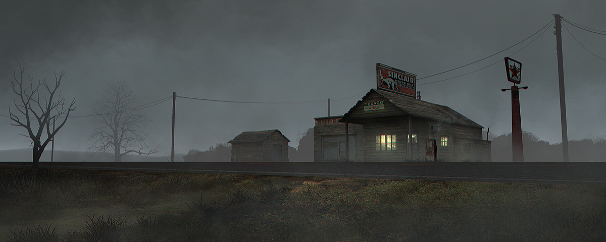 old gas station - fog day