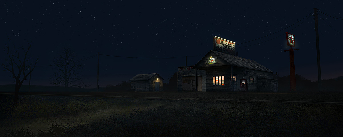 old gas station - night