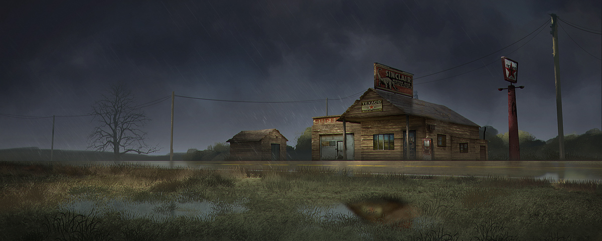 old gas station - rainy day