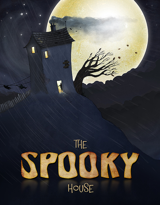 Spooky house - childrens book illustration