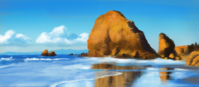 Ocean Rocks Digital Painting Study