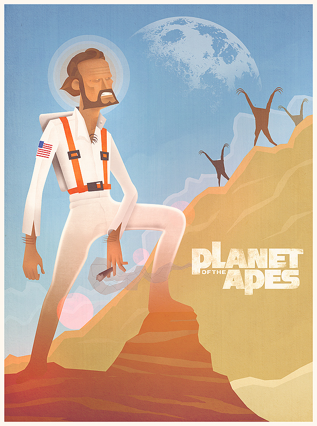 Retro sci fi - planet of the apes cartoon