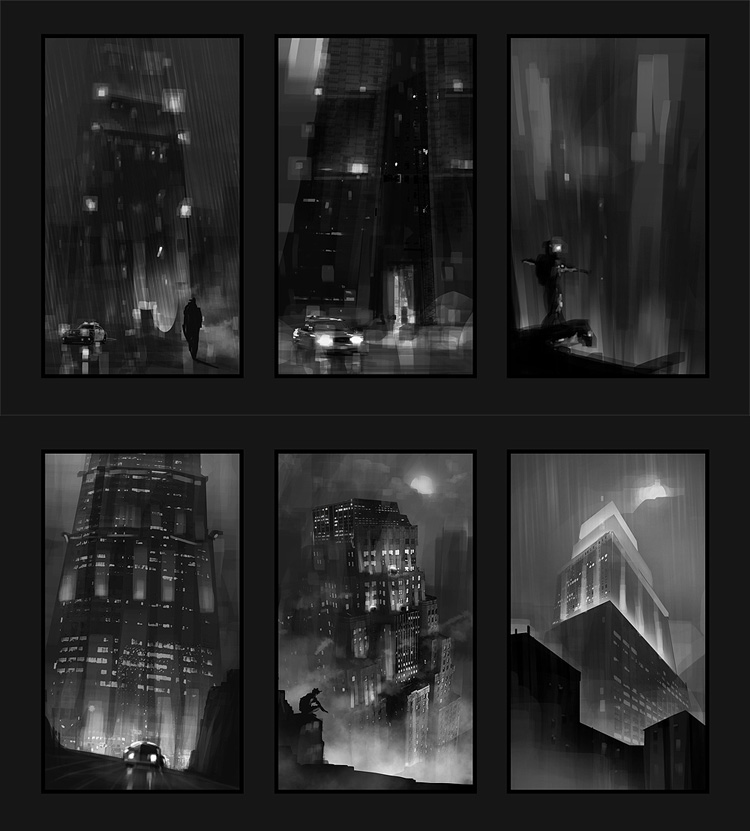 Batman Concept Art Thumbnails